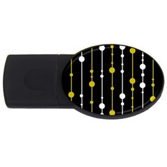 Yellow, Black And White Pattern Usb Flash Drive Oval (4 Gb)  by Valentinaart