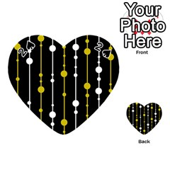 Yellow, Black And White Pattern Playing Cards 54 (heart)  by Valentinaart