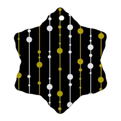 Yellow, Black And White Pattern Ornament (snowflake)  by Valentinaart