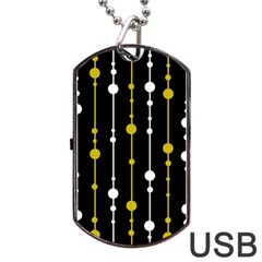 Yellow, Black And White Pattern Dog Tag Usb Flash (two Sides)  by Valentinaart
