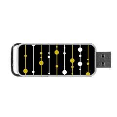 Yellow, Black And White Pattern Portable Usb Flash (one Side) by Valentinaart