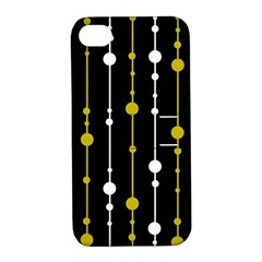 Yellow, Black And White Pattern Apple Iphone 4/4s Hardshell Case With Stand by Valentinaart