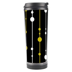 Yellow, Black And White Pattern Travel Tumbler by Valentinaart