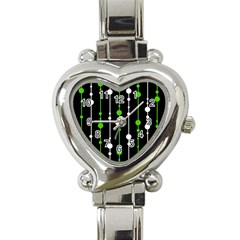 Green, White And Black Pattern Heart Italian Charm Watch by Valentinaart