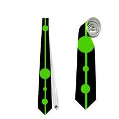 Green, White And Black Pattern Neckties (two Side)  by Valentinaart