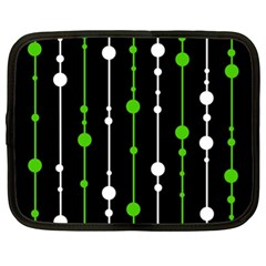 Green, White And Black Pattern Netbook Case (xl)  by Valentinaart