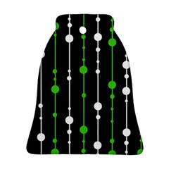 Green, White And Black Pattern Bell Ornament (2 Sides) by Valentinaart