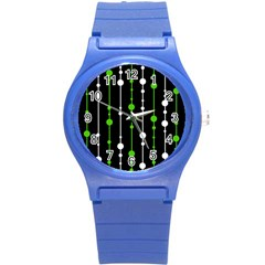 Green, White And Black Pattern Round Plastic Sport Watch (s) by Valentinaart