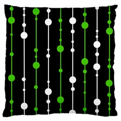 Green, White And Black Pattern Large Cushion Case (one Side) by Valentinaart