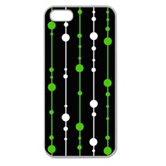 Green, White And Black Pattern Apple Seamless Iphone 5 Case (clear) by Valentinaart