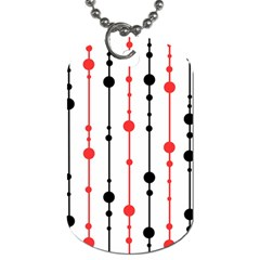 Red, Black And White Pattern Dog Tag (two Sides) by Valentinaart