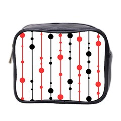 Red, Black And White Pattern Mini Toiletries Bag 2 Side by Valentinaart