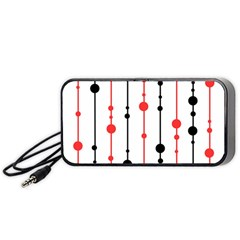 Red, Black And White Pattern Portable Speaker (black)  by Valentinaart