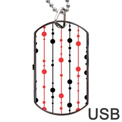 Red, Black And White Pattern Dog Tag Usb Flash (two Sides)  by Valentinaart