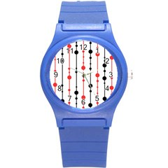 Red, Black And White Pattern Round Plastic Sport Watch (s) by Valentinaart