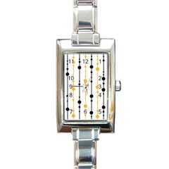 Yellow, Black And White Pattern Rectangle Italian Charm Watch by Valentinaart