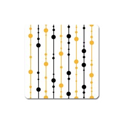 Yellow, Black And White Pattern Square Magnet by Valentinaart