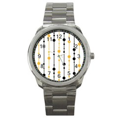 Yellow, Black And White Pattern Sport Metal Watch by Valentinaart