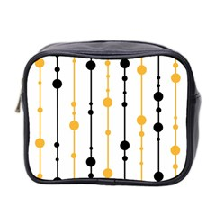 Yellow, Black And White Pattern Mini Toiletries Bag 2 Side by Valentinaart