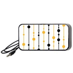 Yellow, Black And White Pattern Portable Speaker (black)  by Valentinaart