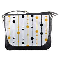 Yellow, Black And White Pattern Messenger Bags by Valentinaart