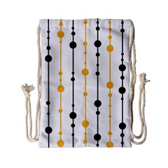 Yellow, Black And White Pattern Drawstring Bag (small) by Valentinaart
