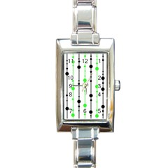 Green Pattern Rectangle Italian Charm Watch by Valentinaart