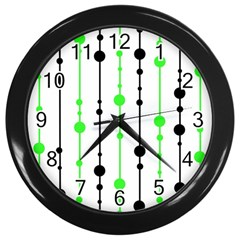 Green Pattern Wall Clocks (black)