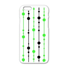 Green Pattern Apple Iphone 6/6s White Enamel Case by Valentinaart