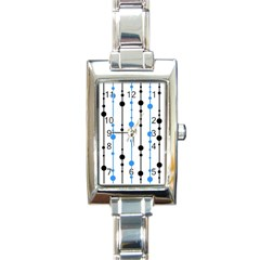 Blue, White And Black Pattern Rectangle Italian Charm Watch by Valentinaart