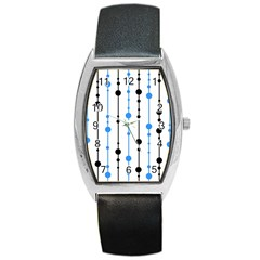 Blue, White And Black Pattern Barrel Style Metal Watch by Valentinaart