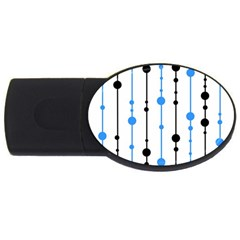 Blue, White And Black Pattern Usb Flash Drive Oval (4 Gb)  by Valentinaart