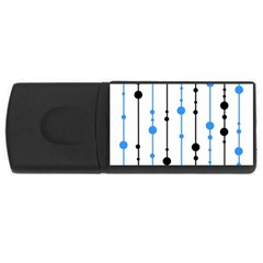 Blue, White And Black Pattern Usb Flash Drive Rectangular (4 Gb)  by Valentinaart