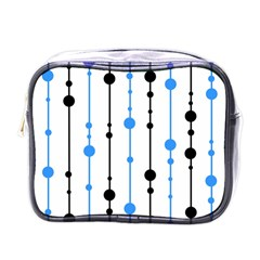 Blue, White And Black Pattern Mini Toiletries Bags by Valentinaart