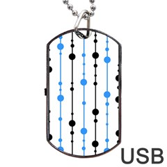 Blue, White And Black Pattern Dog Tag Usb Flash (one Side) by Valentinaart