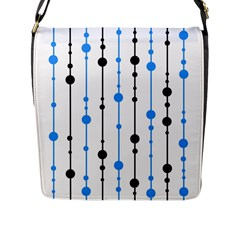 Blue, White And Black Pattern Flap Messenger Bag (l)  by Valentinaart