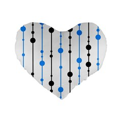 Blue, White And Black Pattern Standard 16  Premium Flano Heart Shape Cushions by Valentinaart