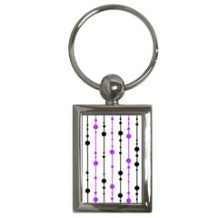 Purple, White And Black Pattern Key Chains (rectangle)  by Valentinaart