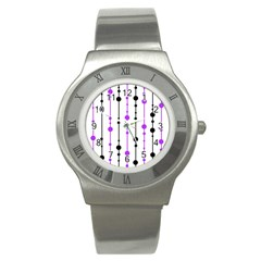 Purple, White And Black Pattern Stainless Steel Watch by Valentinaart