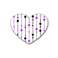 Purple, White And Black Pattern Heart Coaster (4 Pack)  by Valentinaart