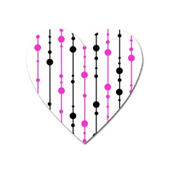 Magenta, Black And White Pattern Heart Magnet by Valentinaart