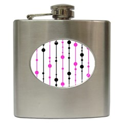 Magenta, Black And White Pattern Hip Flask (6 Oz) by Valentinaart