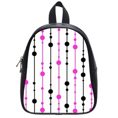 Magenta, Black And White Pattern School Bags (small)  by Valentinaart