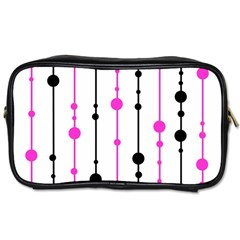 Magenta, Black And White Pattern Toiletries Bags by Valentinaart