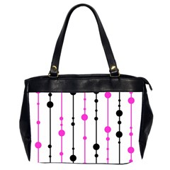 Magenta, Black And White Pattern Office Handbags (2 Sides)  by Valentinaart