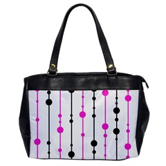 Magenta, Black And White Pattern Office Handbags by Valentinaart