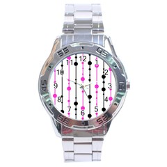 Magenta, Black And White Pattern Stainless Steel Analogue Watch by Valentinaart