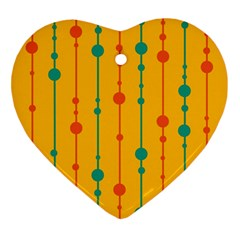 Yellow, Green And Red Pattern Ornament (heart)  by Valentinaart