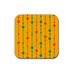 Yellow, Green And Red Pattern Rubber Square Coaster (4 Pack)  by Valentinaart