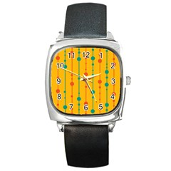Yellow, Green And Red Pattern Square Metal Watch by Valentinaart